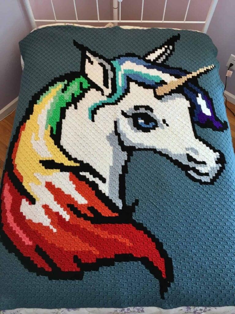 Rainbow Unicorn C2C Finished Blanket with Blue Background