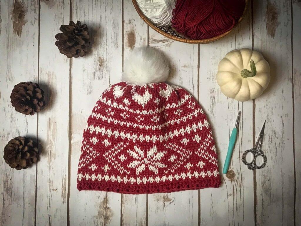 fair isle crochet beanie pattern (8)