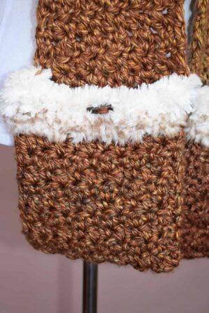 kunik-scoodie Crochet Hooded Pocket Scarf in Brown with White Trim