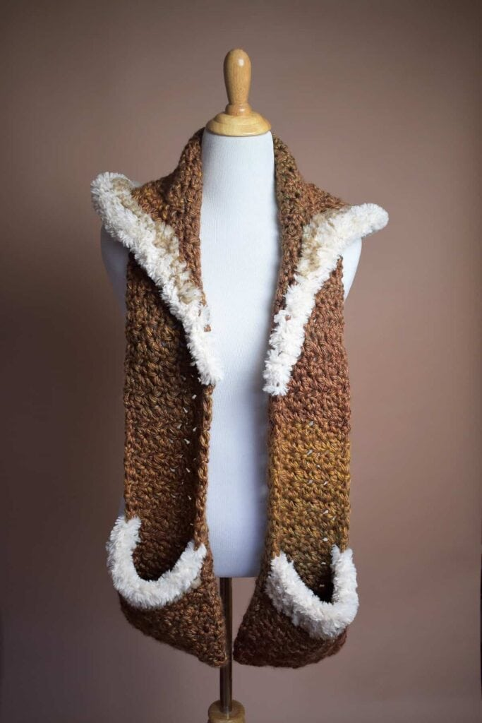Crochet Hooded Pocket Scarf in Brown with White Trim