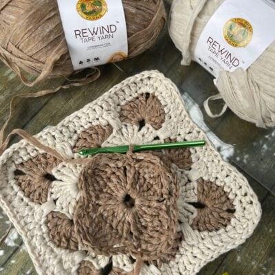Crochet Granny Square in Brown and White