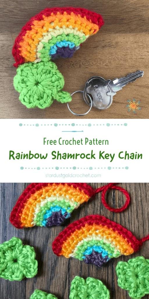 Rainbow Shamrock Crochet Key Chain