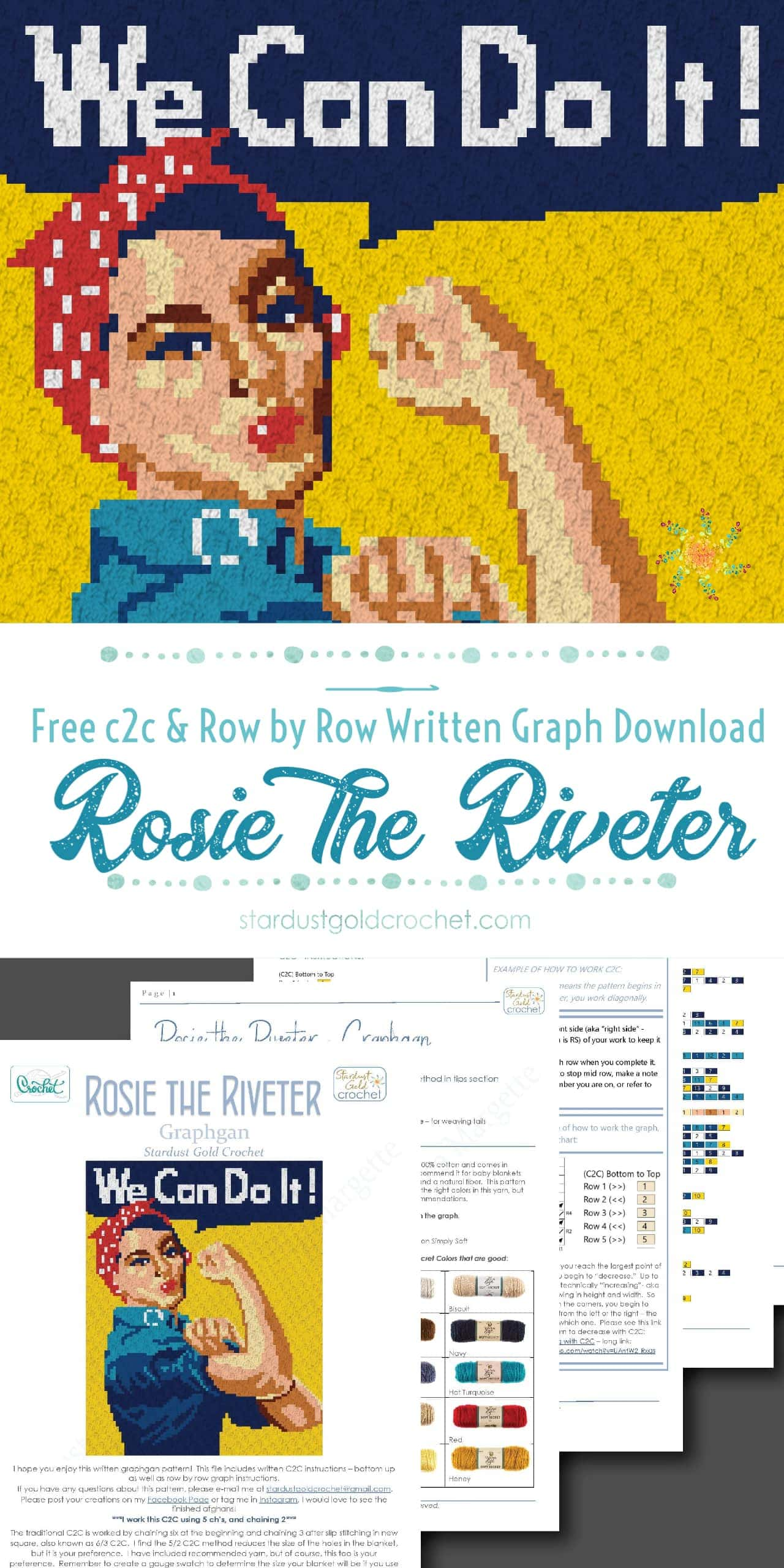 Rosie the Riveter Pin Free Graph Download