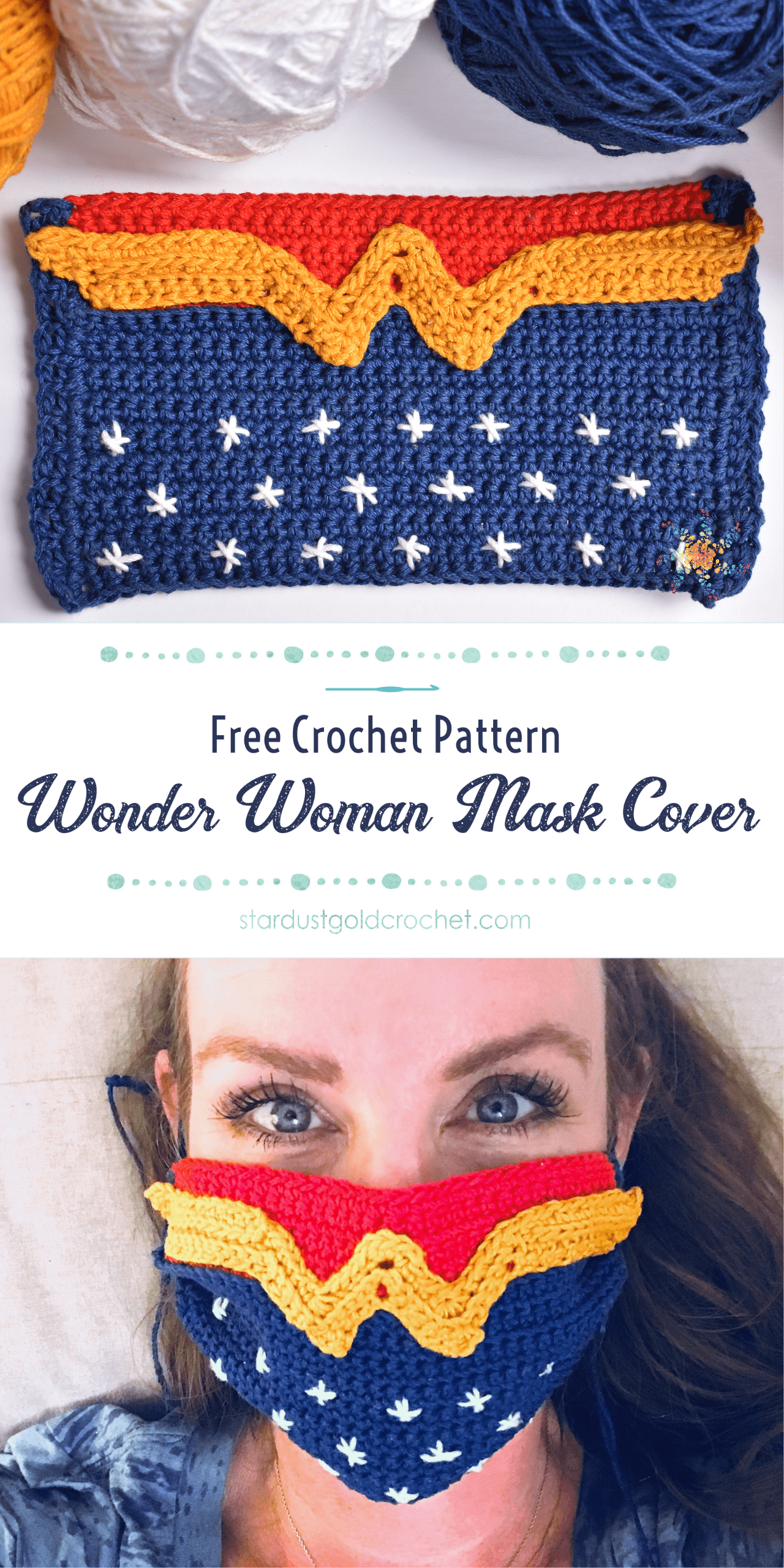 Wonder Woman Crochet Mask Cover PIN