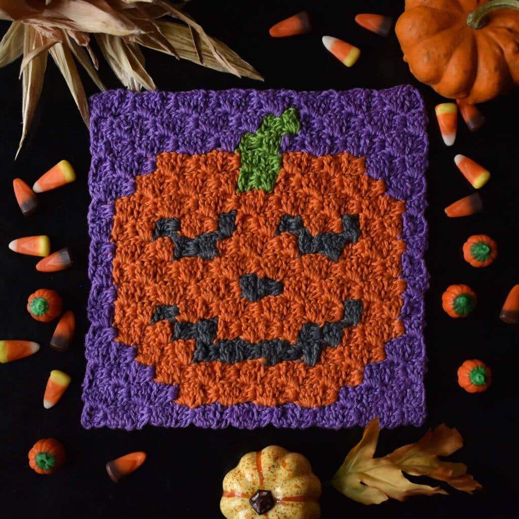 Halloween C2C Jack O Lantern Crochet Pattern