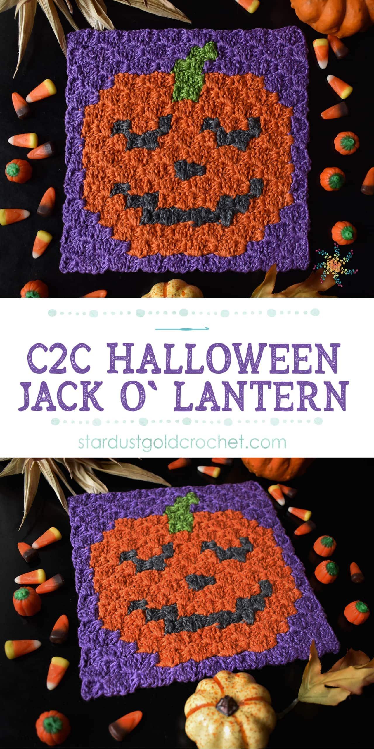 Halloween Jack O Lantern C2C Crochet Pattern by Stardust Gold Crochet Pin