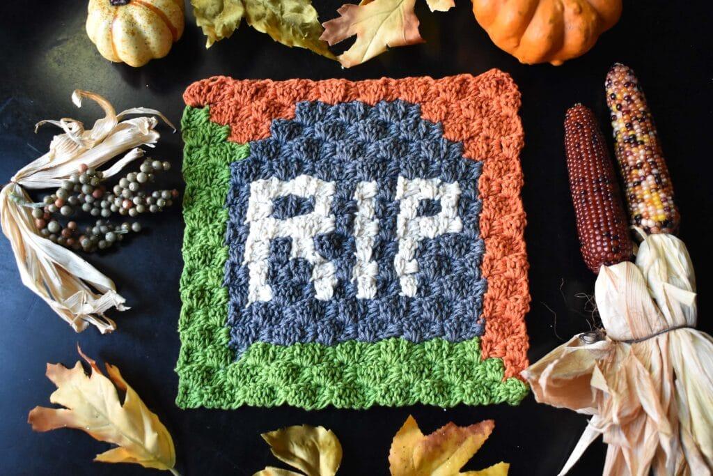 Halloween Tombstone C2C Free Pattern