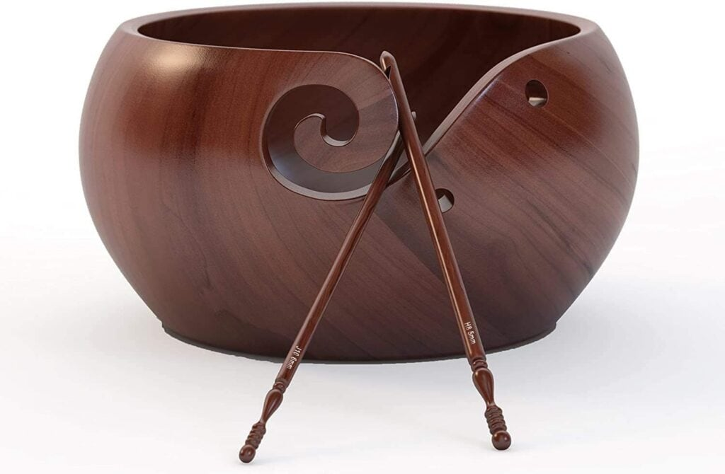 Ravel Large Wooden Yarn Bowl with Handcrafted Bag & Engraved hooks