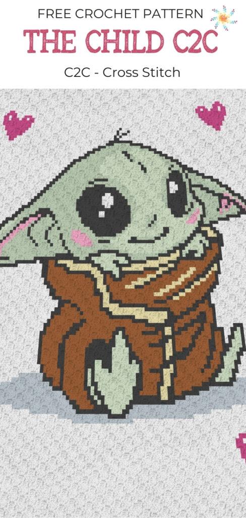 Baby Yoda C2C Crochet Pattern