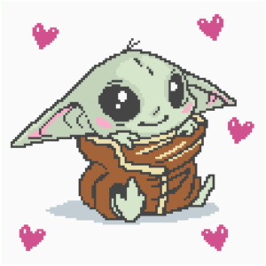 Baby Yoda with Hearts C2C Crochet Pattern