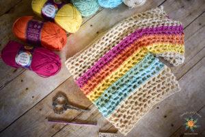 Rainbow-Mesh-Crochet-Crop-Top-Pattern With Lion Brand 24/7 cotton yarn