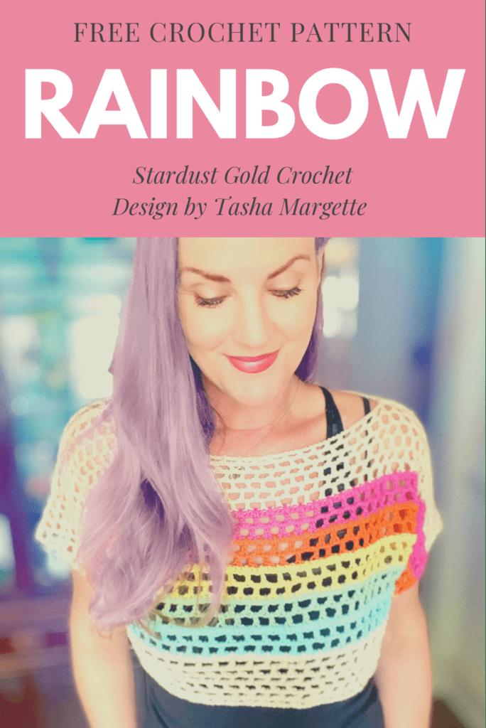 Rainbow Mesh Cropped Crochet Tee