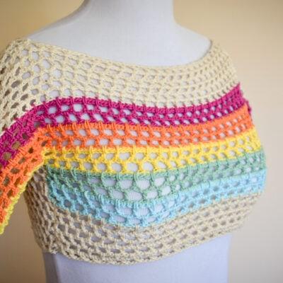 Rainbow Mesh Tee Crochet Crop Top Pattern